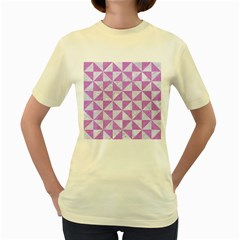 Triangle1 White Marble & Purple Colored Pencil Women s Yellow T Shirt