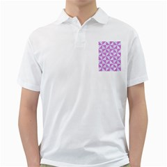 Triangle1 White Marble & Purple Colored Pencil Golf Shirts