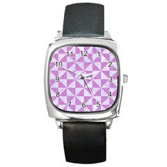 Triangle1 White Marble & Purple Colored Pencil Square Metal Watch
