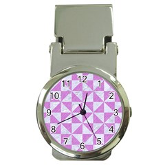 Triangle1 White Marble & Purple Colored Pencil Money Clip Watches