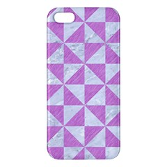 Triangle1 White Marble & Purple Colored Pencil Apple Iphone 5 Premium Hardshell Case