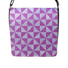 Triangle1 White Marble & Purple Colored Pencil Flap Messenger Bag (l)