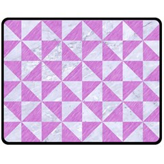 Triangle1 White Marble & Purple Colored Pencil Double Sided Fleece Blanket (medium)