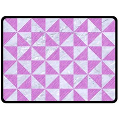 Triangle1 White Marble & Purple Colored Pencil Double Sided Fleece Blanket (large)