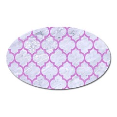 Tile1 White Marble & Purple Colored Pencil (r) Oval Magnet