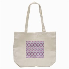 Tile1 White Marble & Purple Colored Pencil (r) Tote Bag (cream)