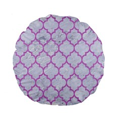 Tile1 White Marble & Purple Colored Pencil (r) Standard 15  Premium Flano Round Cushions