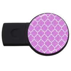 Tile1 White Marble & Purple Colored Pencil Usb Flash Drive Round (4 Gb)