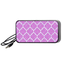Tile1 White Marble & Purple Colored Pencil Portable Speaker by trendistuff