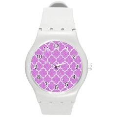 Tile1 White Marble & Purple Colored Pencil Round Plastic Sport Watch (m)