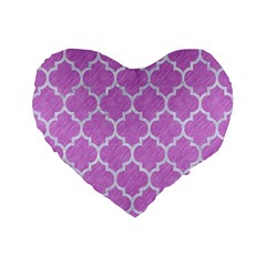 Tile1 White Marble & Purple Colored Pencil Standard 16  Premium Flano Heart Shape Cushions