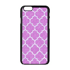 Tile1 White Marble & Purple Colored Pencil Apple Iphone 6/6s Black Enamel Case