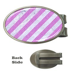 Stripes3 White Marble & Purple Colored Pencil (r) Money Clips (oval)  by trendistuff