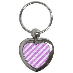 Stripes3 White Marble & Purple Colored Pencil (r) Key Chains (heart)