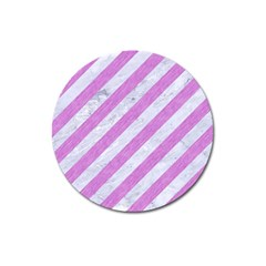 Stripes3 White Marble & Purple Colored Pencil (r) Magnet 3  (round)