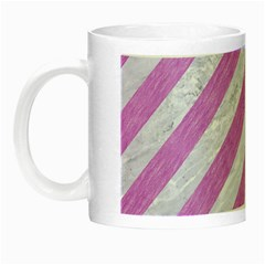 Stripes3 White Marble & Purple Colored Pencil (r) Night Luminous Mugs