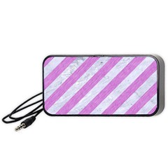 Stripes3 White Marble & Purple Colored Pencil (r) Portable Speaker