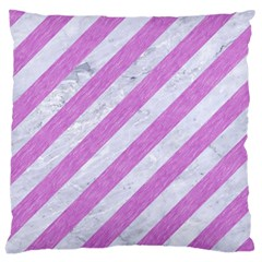 Stripes3 White Marble & Purple Colored Pencil (r) Large Cushion Case (two Sides) by trendistuff