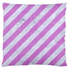 Stripes3 White Marble & Purple Colored Pencil (r) Large Flano Cushion Case (one Side)