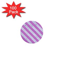 Stripes3 White Marble & Purple Colored Pencil 1  Mini Buttons (100 Pack)