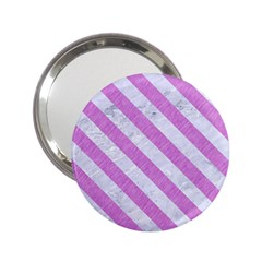 Stripes3 White Marble & Purple Colored Pencil 2 25  Handbag Mirrors