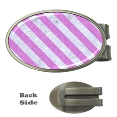 Stripes3 White Marble & Purple Colored Pencil Money Clips (oval)