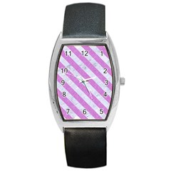 Stripes3 White Marble & Purple Colored Pencil Barrel Style Metal Watch