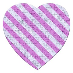 Stripes3 White Marble & Purple Colored Pencil Jigsaw Puzzle (heart)