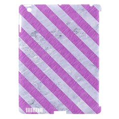 Stripes3 White Marble & Purple Colored Pencil Apple Ipad 3/4 Hardshell Case (compatible With Smart Cover)