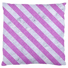 Stripes3 White Marble & Purple Colored Pencil Large Cushion Case (one Side)