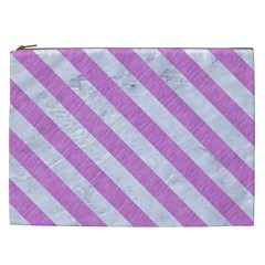 Stripes3 White Marble & Purple Colored Pencil Cosmetic Bag (xxl)