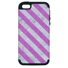 Stripes3 White Marble & Purple Colored Pencil Apple Iphone 5 Hardshell Case (pc+silicone)