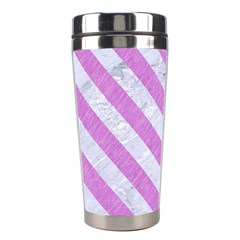 Stripes3 White Marble & Purple Colored Pencil Stainless Steel Travel Tumblers