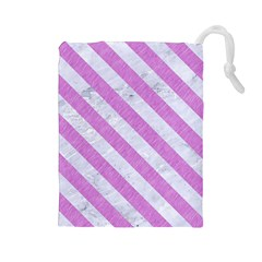 Stripes3 White Marble & Purple Colored Pencil Drawstring Pouches (large)