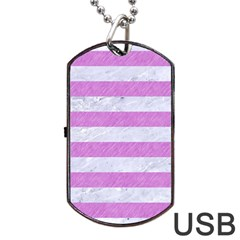 Stripes2white Marble & Purple Colored Pencil Dog Tag Usb Flash (two Sides)