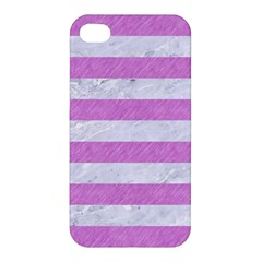 Stripes2white Marble & Purple Colored Pencil Apple Iphone 4/4s Hardshell Case
