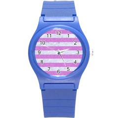 Stripes2white Marble & Purple Colored Pencil Round Plastic Sport Watch (s)