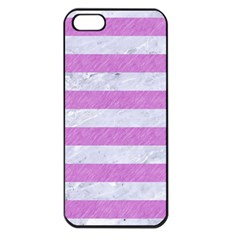 Stripes2white Marble & Purple Colored Pencil Apple Iphone 5 Seamless Case (black)
