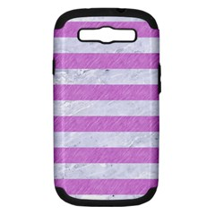 Stripes2white Marble & Purple Colored Pencil Samsung Galaxy S Iii Hardshell Case (pc+silicone) by trendistuff
