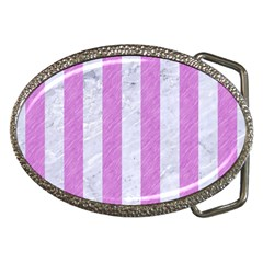 Stripes1 White Marble & Purple Colored Pencil Belt Buckles