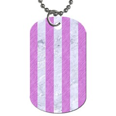 Stripes1 White Marble & Purple Colored Pencil Dog Tag (one Side)