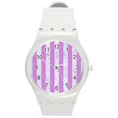 Stripes1 White Marble & Purple Colored Pencil Round Plastic Sport Watch (m)