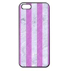 Stripes1 White Marble & Purple Colored Pencil Apple Iphone 5 Seamless Case (black)