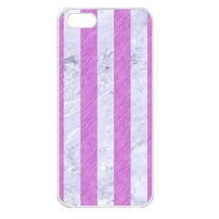 Stripes1 White Marble & Purple Colored Pencil Apple Iphone 5 Seamless Case (white)