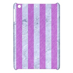 Stripes1 White Marble & Purple Colored Pencil Apple Ipad Mini Hardshell Case