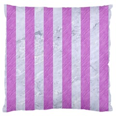 Stripes1 White Marble & Purple Colored Pencil Large Flano Cushion Case (two Sides)