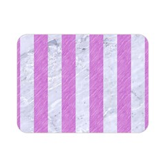 Stripes1 White Marble & Purple Colored Pencil Double Sided Flano Blanket (mini)