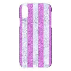 Stripes1 White Marble & Purple Colored Pencil Apple Iphone X Hardshell Case