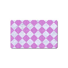 Square2 White Marble & Purple Colored Pencil Magnet (name Card)