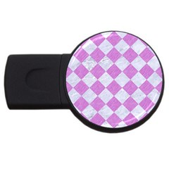 Square2 White Marble & Purple Colored Pencil Usb Flash Drive Round (2 Gb) by trendistuff